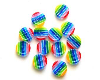 10 Rainbow Buttons 12mm