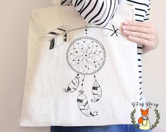 Dreamcatcher Tote Bag, Tote Bag, Beach Tote, Cotton Bag, Black and White, Dreamcatcher, Beach Tote Bag, Bridesmaid tote, TB-009