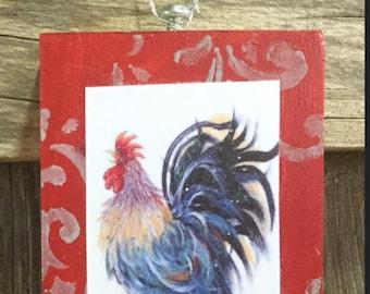 Mini Art, MR. CACKLE ,ready to ship ,Rooster Art, Art Block, Ornament, Art Print