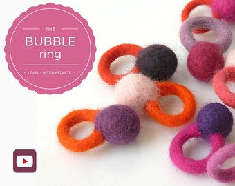 Merino Wool Felt Minimalist Ring – Colorful Statement Ring – Best Friend Gift – Wet Felting Video Tutorial/DIY – Instant Download