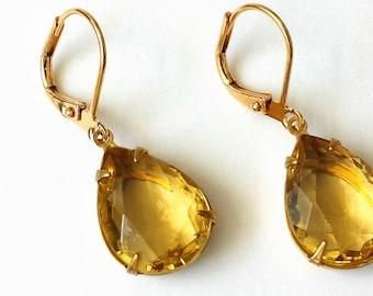 Yellow Rhinestone Earrings Yellow Teardrop Earrings Wedding Bridesmaids Jewelry Yellow and Gold Drop Earrings Art Deco Yellow Earrings