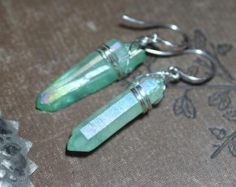Green Quartz Crystal Point Earrings Sterling Silver Earrings Luxe Rustic Jewelry