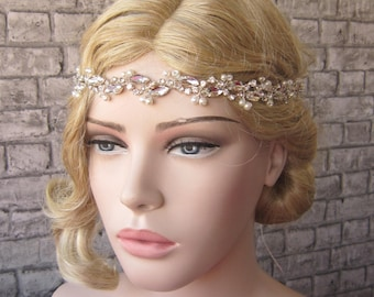 Crystal and Ivory Pearl handmade Wedding headband/ Wedding Headpiece, bridal headband wedding accessories, bridal headpiece