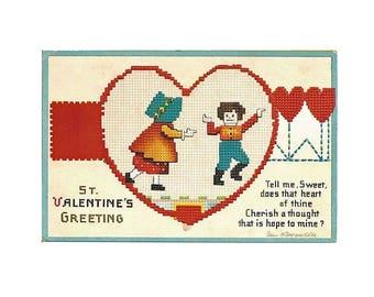 Wonderful Ellen Clapsaddle Valentine Postcard with Needlepoint Design - International Art - Collectible Valentine Postcard