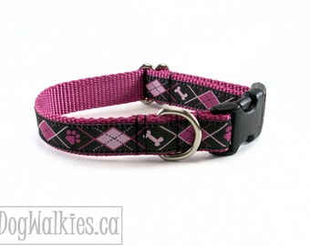 "Rose & Black Bone and Paw Argyle Dog Collar / 3/4"" (19mm) Wide / Martingale or Quick Release / Choice of size and style"