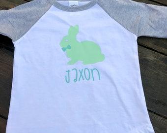 Easter Shirt/ Boy Easter Shirt/ Bunny Easter Shirt/ Personalized Easter Shirt/ Gray/Green Easter Shirt/ Raglan Style Shirt/ Easter Bunny Top