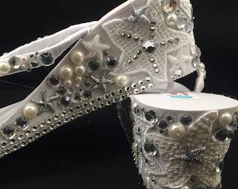 Mariel Bridal Flip Flops, Custom Wedge Flip Flops, Starfish Platform Sandals Bridal Wedge Sandals Bling Flip Flops Wedding Shoes