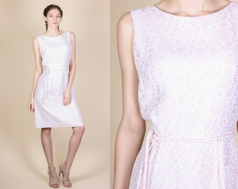 60s Metallic Pink Party Dress - Small // Vintage Belted Sleeveless Mini Sheath