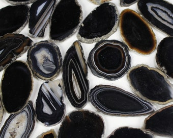 reserved for Koh, 25 ct 2.5 to 3 inch agate slices BLACK polished dyed slabs with solid centers