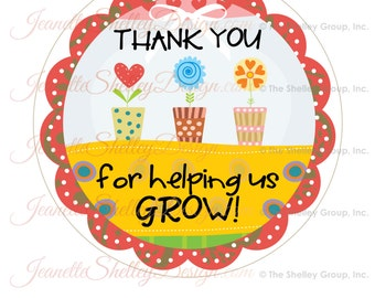 """instant download... 7"""" Printable Teacher Appreciation """"Thank You For Helping Us Grow"""" Gift Tags"""