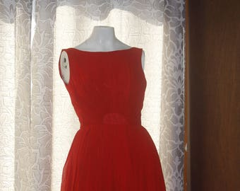Vintage 1950's 1960's Red Chiffon Dress S