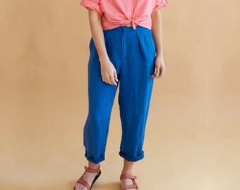 Cobalt Linen Trousers