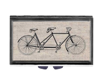 Bicycle for Two Natural linen Pill Case with Mirror  pill box 3 day sections tandem bike Wife Gift
