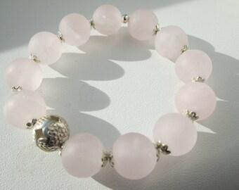 Bracelet Rose quartz Matt with hill tribe Silver Ball/Romantic/playful/pink/rose/Silver/gift/girl Jewelry