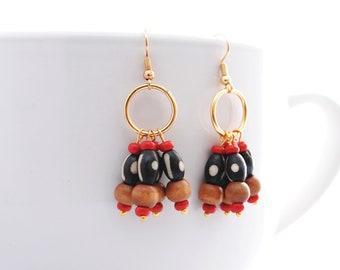 Maculele Dangle Earrings, Tribal Earrings, Bohemian Earrings, Boho Jewelry