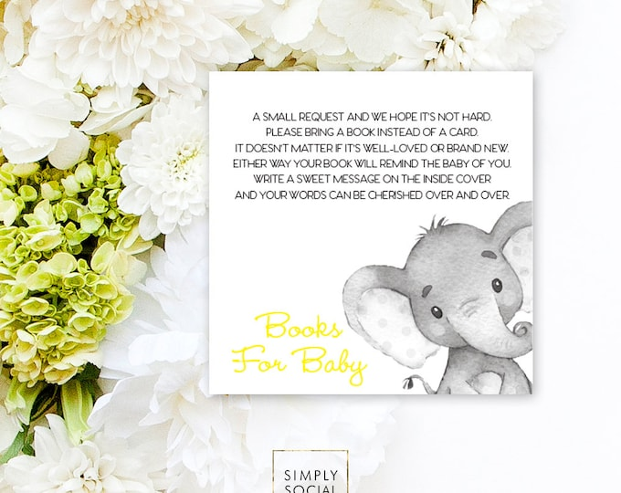INSTANT DOWNLOAD Elephant Baby Shower Bring a Book Instead of a Card insert Yellow Boho Elephant Jungle Watercolor Calligraphy PRINTABLE
