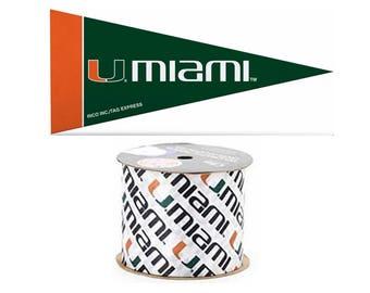 "2.5"" NCAA Miami Hurricanes Ribbon, 9 feet & Mini Pennant, Licensed NCAA Offray Ribbon"