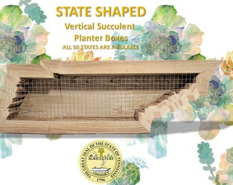 Vertical Succulent Cedar Planter Box USA 50 States TN Shaped Large Living Wall Hanging Art Herb Cactus Fun Unique All Natural Gardening Gift