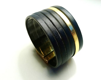 leather cuff Navy Blue and gold