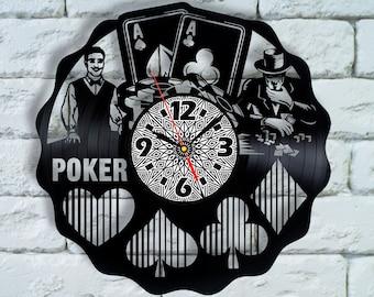 Poker Player Gifts clock, Fire Poker, gambling amulet, gambling gift, casino wall art casino wall decor, personalized poker gift