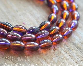 Glass beads oval bi color amber purple x 20