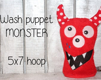 WAS-003 - 5x7 hoop - Wash Puppet - MONSTER - ITH - In The Hoop - Machine Embroidery Design File, digital download