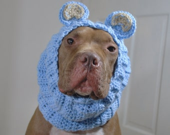 Crochet Dog Snood Blue Bear MADE TO ORDER