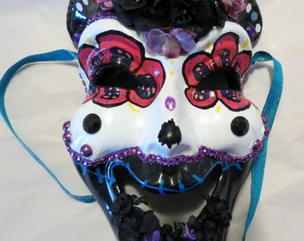 Day of the dead mask, one of a kind ceramic mask, decorative mask