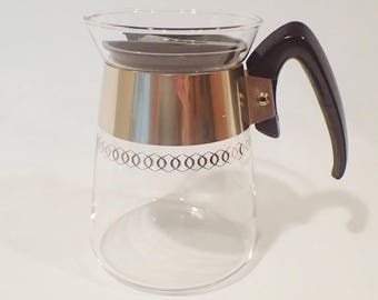 PYREX COFFEE CARAFE 6 cup, mcm, glass, gold, vintage, mid-century, 1960s 292