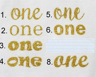 One Iron On, Non-Shed Glitter, Gold, Shirt Iron On, DIY, Iron-On Heat Transfer, Glitter, First Birthday, Baby Girl, Gold, Old Gold