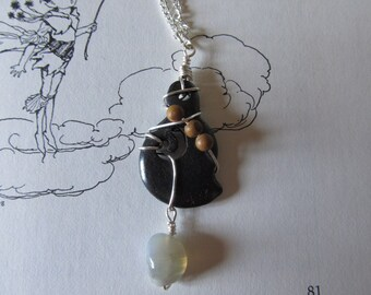 Item 0005 Twisted Black dyed Carved Driftwood with Dirty Moonstone Dangle on thin silver chain