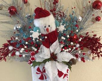 Christmas Stocking, Peppermint Stocking, Christmas Decorations, Christmas Snowman, Snowman Stocking, Christmas Wall Decor