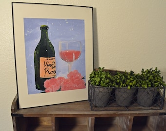 Acrylic on Paper Wine Painting w/ frame