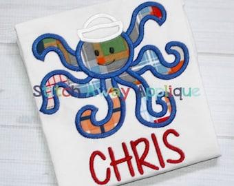 Octopus Boy Summer Beach Nautical Machine Applique Design