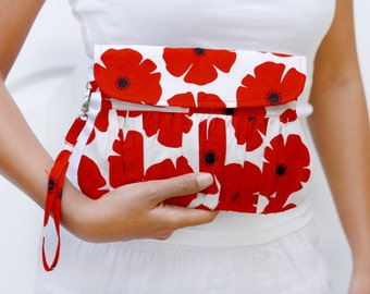 Red, White and Black Clutch, Flower Clutch Christmas Gift