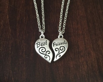 Best Friend Necklace, Best Friend Jewelry, BFF Jewelry, BFF Necklace, Friendship Necklace, Friendship Jewelry, Heart Necklace, Silver
