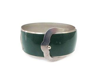 Art Deco Buckle Bangle Bracelet - Silver Chrome Metal, Dark Green Enamel, Wide Bangle, Art Deco Jewelry
