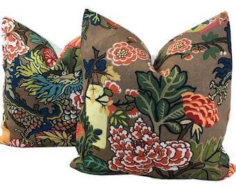 Chiang Mai Pillow - Chinoiserie Pillow - Throw Pillow - Designer Pillow - Schumacher Pillow - Decorator Pillow - Dragon Pillow - TWO COVERS
