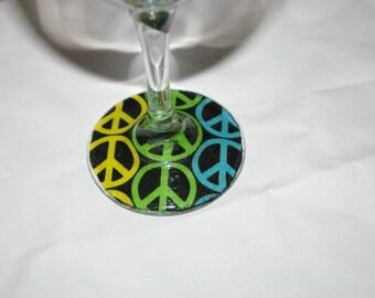 Rainbow peace sign wine glasses
