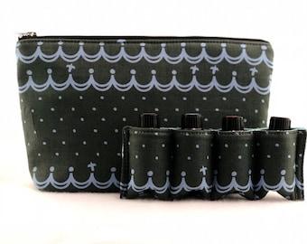 Essential Oil Bag/  Essential Oil Travel Bag/ Essential Oil Pouch/ Essential Oil Carry Bag/ Essential Oil Case - Dark Green Wave