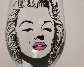Marilyn Monroe, Hand painted glass, Painted wine glass