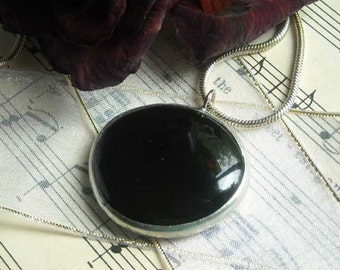 Black Glass Jewel Pendant