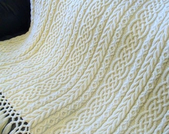 Celtic Aran Afghan | Cable Knit Afghan | Aran Afghan | PDF Knitting Pattern | Irish Knit |