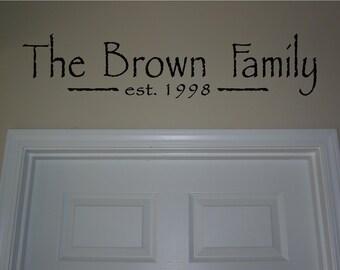 Custom Family name with established date..vinyl lettering