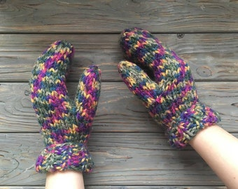 Funny knitted mittens for children