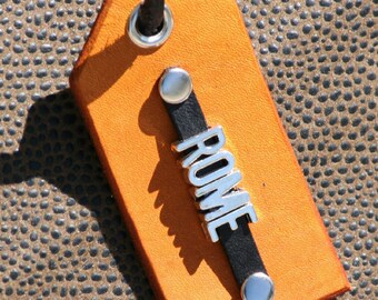 Leather Luggage Tag ~ Metal Font ~ Personalized ~ Initials or Name ~ 1 Tag ~