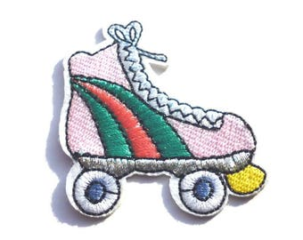 Pink Roller Skate with Red and Green Stripes Iron on Patch, Roller Skates