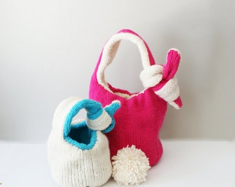 """DIY Knitting PATTERN - Knit Bunny Baskets (in Small 5"""" and Large 7"""" diameter) Reversible and Adjustable (bowls004)"""