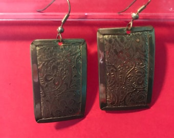 Gold Pendant Earrings with etched ornate design