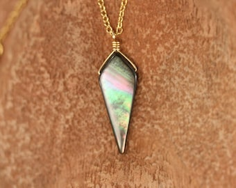 Mother of pearl necklace - abalone necklace - shell necklace - kite necklace - triangle necklace - 14k gold vermeil chain